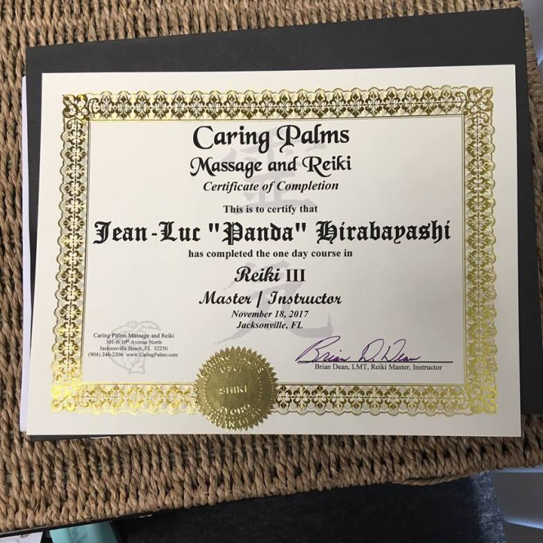 Panda is a certified Reiki Master/Instructor through Caring Palms Massage and Reiki of Jacksonville Beach, Florida. He received Reiki levels I-III under the tutelage of Brian Dean, LMT and Certified Usui Reiki Master. Lani has been attuned as a Reiki practitioner at level I (as Panda's first student!!! <333 ).